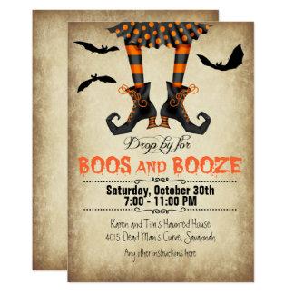 Wunderliche Boos und Schnaps-Halloween-Party 12,7 X 17,8 Cm Einladungskarte