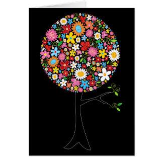 Wunderliche bunte Frühlings-Blumen-Pop-Baum-Natur Grußkarte