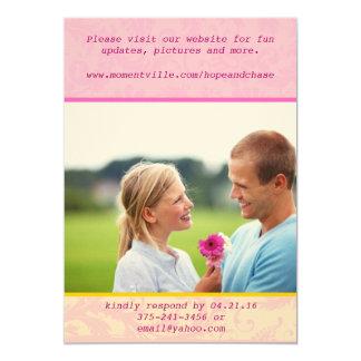 Wunderliche Damast-Foto-Hochzeits-Einladung Karte