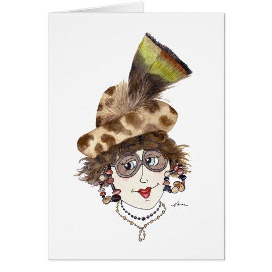 Wunderliche Dame mit dem rechten Hut Karte