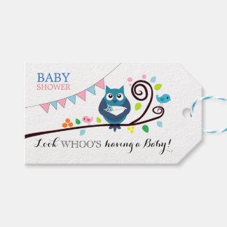 Wunderliche Eulen-Babyparty Geschenkanhänger