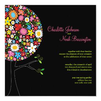 Wunderliche Frühlings-Blumen-Pop-Baum-Hochzeit Quadratische 13,3 Cm Einladungskarte