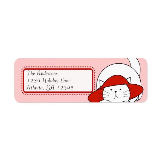 Wunderliche Katze in einer roten Rücksendeetikett