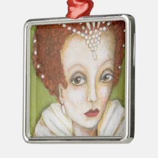 Wunderliche künstlerische Königin PorträtElizabeth Silbernes Ornament