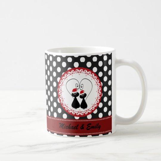 Wunderliche lustige Weihnachtskatzenpaare Kaffeetasse