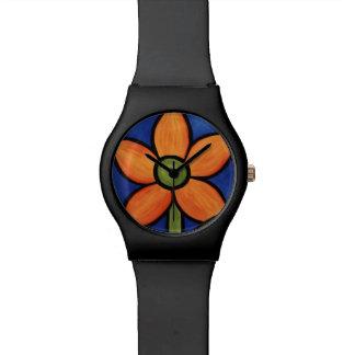 Wunderliche orange Blume Armbanduhr