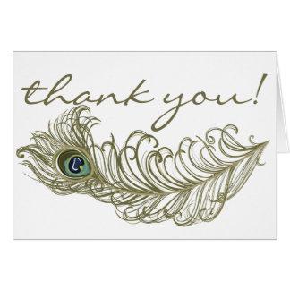 Wunderliche Pfau-Feder danken Ihnen zu kardieren Karte