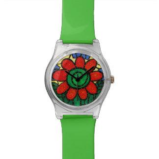 Wunderliche rote Blume Uhr