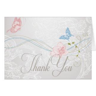Wunderliche Schmetterlinge und Spitze danken Ihnen Karte