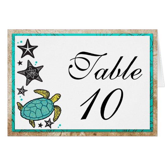Wunderliche Strand-Hochzeits-Tischnummer-Karten Mitteilungskarte