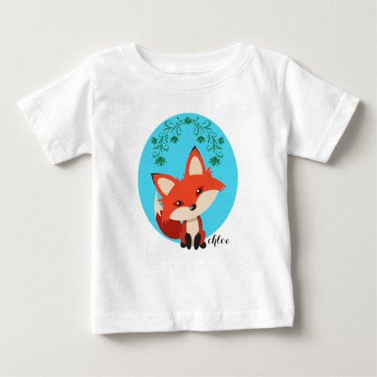 Wunderlicher BabyFox und BlumenWirbel Baby T-shirt