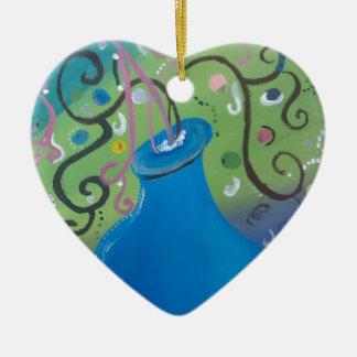 wunderlicher blauer Vase Keramik Herz-Ornament