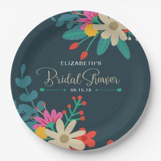Wunderlicher BlumenpapierTeller für Brautparty Pappteller 22,9 Cm