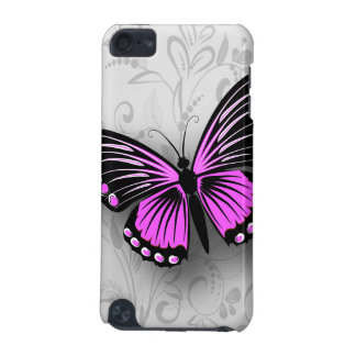 Wunderlicher rosa Schmetterling auf grauem Blumen iPod Touch 5G Hülle