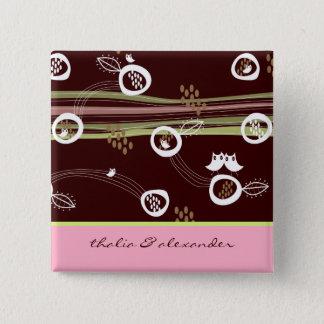 Wunderlicher Waldeulen-Familien-Hochzeits-Knopf Quadratischer Button 5,1 Cm