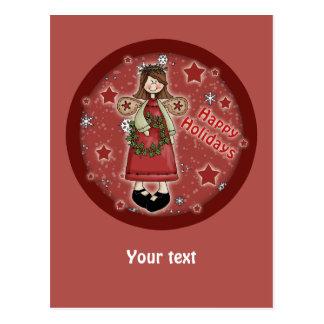 Wunderlicher Weihnachtsengel und -Kranz Postkarte