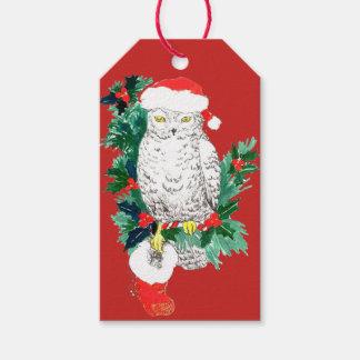 Wunderlicher Weihnachtseulen-Strumpf und Geschenkanhänger