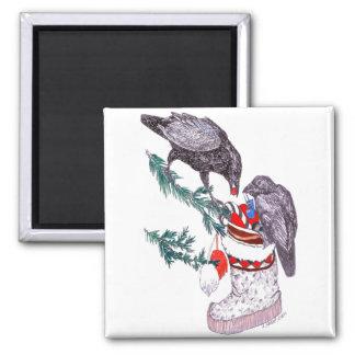 Wunderlicher Weihnachtsraben-füllender Strumpf Quadratischer Magnet