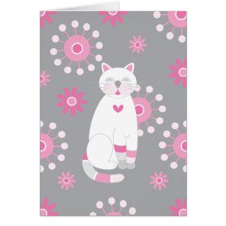 Wunderlicher weißer Katzen-Geburtstag Karte