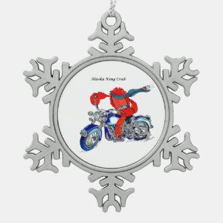 Wunderliches Alaska-Königskrabbe-Motorrad Schneeflocken Zinn-Ornament