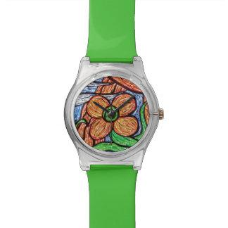 Wunderliches grünes Blumen Armbanduhr