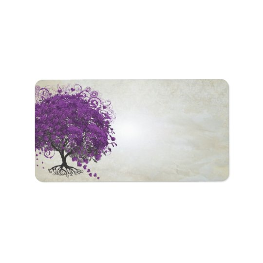 Wunderliches lila Herz trieb Baum Blätter Adress Aufkleber