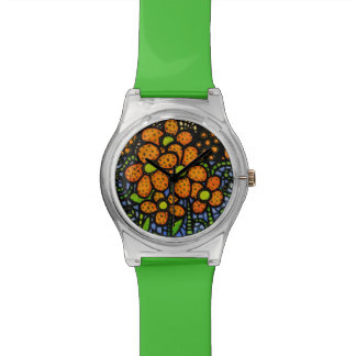 Wunderliches orange Blumen Uhr