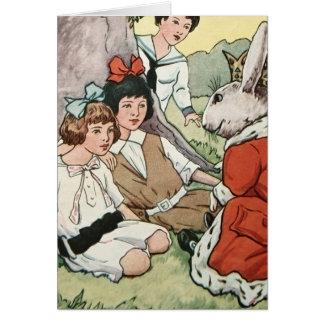 Wunderliches Vintages Osterhasen-u. Kindermalen Karte