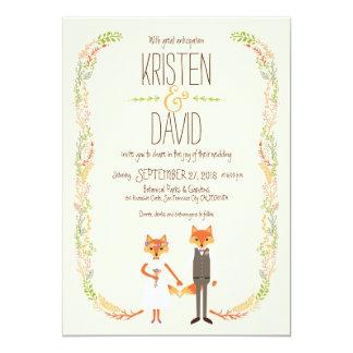 Wunderliches Waldland Foxes Elfenbein-Hochzeit Karte