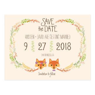 Wunderliches Waldland Foxes (Elfenbein) Save the Postkarte