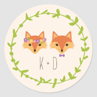 Wunderliches Waldland Foxes Elfenbeinhochzeit Runder Aufkleber