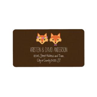 Wunderliches Waldland Foxes Hochzeit Adress Aufkleber