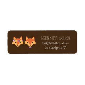 Wunderliches Waldland Foxes Hochzeit Rücksende Aufkleber