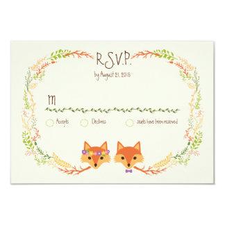 Wunderliches Waldland Foxes Hochzeits-Elfenbein Karte