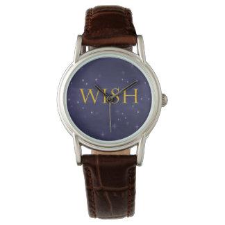 Wunsch-Uhr mit magischem Himmels-Hintergrund Uhr
