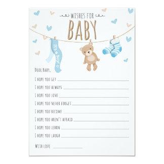 Wünsche für Baby-Teddybär-blauer Jungen-Spielkarte Karte