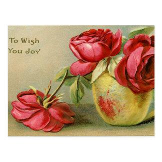 Wünschen Sie Ihnen Freude Vintage Blumenpostkarte Postkarte