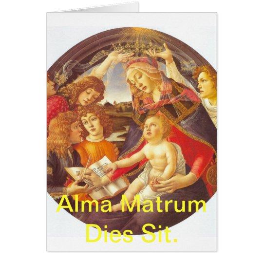 Würfel Alma Matrum sitzen Grußkarte
