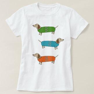 Wurst-HundeDackel im Pullover-Knochen-Spitzen-T - T-Shirt