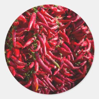 Würziger roter Chili in der Stadt von Kalocsa Runder Aufkleber