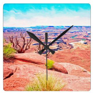 Wüsten-Ansicht Quadratische Wanduhr