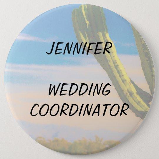 Wüsten-Kaktus-blauer Himmel-Hochzeits-Koordinator Runder Button 15,3 Cm