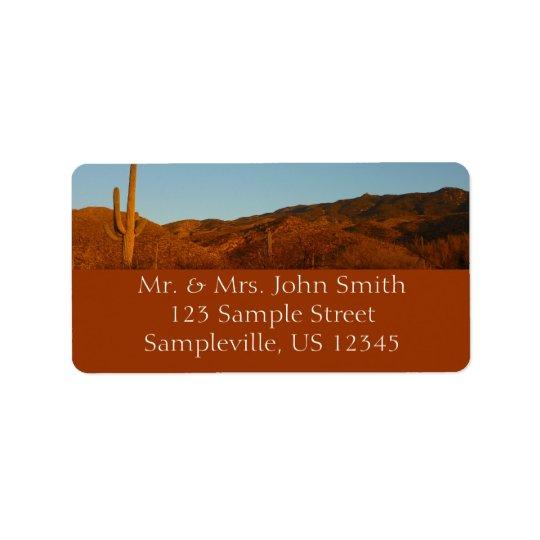 Wüsten-Landschaft des Saguaro-Sonnenuntergang-I Adressaufkleber