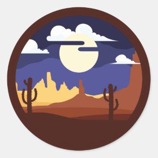 Wüsten-Landschaftsaufkleber Runder Aufkleber