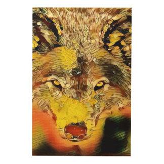 Wüsten-Wolf-Indie Spritzpistolen-Kunst Holzleinwand