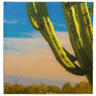 Wüstesaguaro-Kaktus auf blauem Himmel Serviette