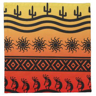 Wüstesun-Kaktus-SüdwestenKokopelli Muster Stoffserviette