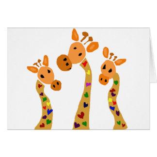WW-, Giraffe und Herz-ursprünglicher Kunst-Cartoon Karte