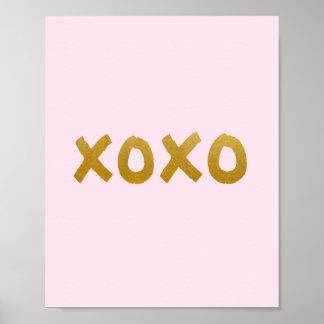 xoxo - Kunstdruck - Rosa - Gold - Dekor Poster