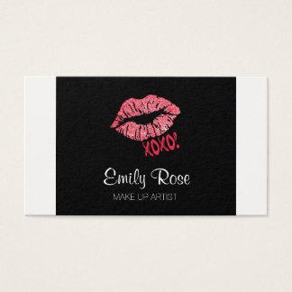 XOXO Lippenstift-Kuss-Rosa u. Schwarzes bilden Visitenkarte